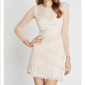 BCBG MAXAZRIA Pleated Tulle Ruffle Dress
